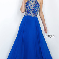 High Neck Floor Length Prom Dress with Beaded Top Intrigue by Blush