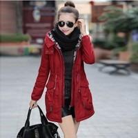 Winter Parka Coat with Gathered Waist YRB0590