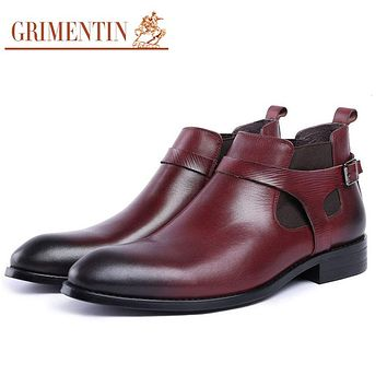 GRIMENTIN mens genuine leather boot wine red fashion casual male dress ankle boots shoes