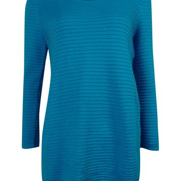 Calvin Klein Women's 3/4 Sleeve Ribbed Knit Sweater