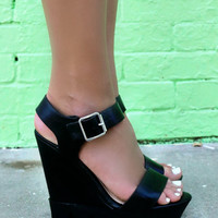 Serena Black Platform Ridged Wedge Sandals