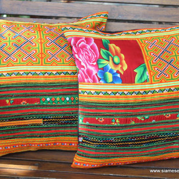 "Ethnic Hmong Pillows Colorful Orange Embroidery 16 ""  Decorative Cushion Cover"