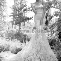 Inbal Dror Strapless sweetheart lace wedding dress/mermaid wedding dress/mermaid lace wedding dress