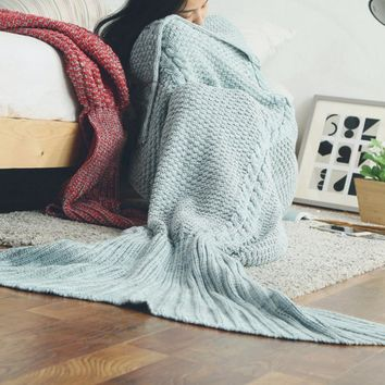Mermaid blanket child human tail air conditioning blanket knit nap blanket carpet sofa blanket Fish tail green