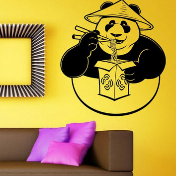 Panda Eating Chinese Take Out Restaurant Vinyl Wall Decal Sticker