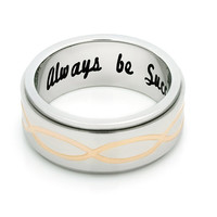 "Spinner Ring - Promise Ring, Delicate Ring Engraved on Inside with ""Always Be Successful"", Sizes 6 to 9"