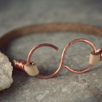 Infinity Bracelet - Leather Bracelet - Copper Leather Infinity Bracelet - Unisex Bracelet - Ankle Bracelet -Tan Leather