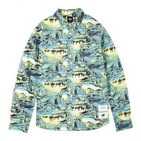 Stussy: Pride Twill Long Sleeve Button Down - Blue