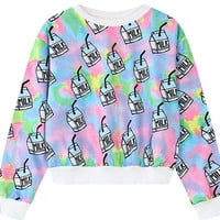 Colorful Harajuku Symphony Loose Cropped Sweat Shirts