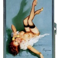 Redhead Pin Up Girl Telephone Double-Sided Cigarette Case, ID Holder, Wallet with RFID Theft Protection