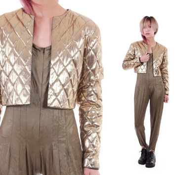 Gold Metallic Quilted Cropped Jacket Shiny Glam Futuristic 80s 90s Vintage Outerwear Womens Clothing Size Small