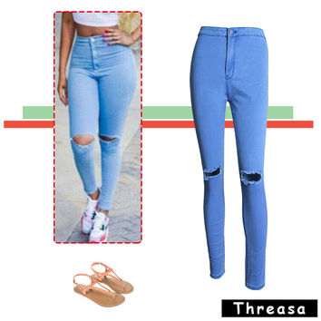 High Rise Stretch Slim Pencil Pants Ripped Holes Jeans [11597543503]