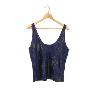Slinky Floral Tank Top 90s Navy Blue Cropped Blouse Flirty Flowers Tank Top Revival Grunge Womens Shirt Boho Sexy Printed Tank XS Small