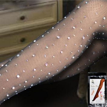 Quality Women Sheer Sparkling Thigh High Stockings Rhinestone Socks Sexy Socks Small Mesh Pantyhose Seamless Stockings