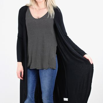 Two-fer Striped Top w/ Cardigan Cape Hi-Lo {Black}