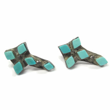 Vintage Zuni Turquoise Cross Earrings Sterling Studs