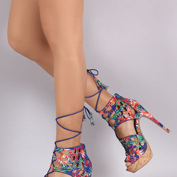 Qupid Tropical Cork Platform Peep Toe Heel