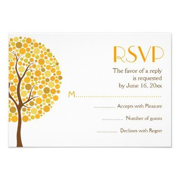 Autumn tree in fall colors wedding RSVP response Personalized Invitations from Zazzle.com