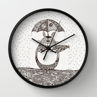 Happy Totoro Wall Clock by Paula Belle Flores