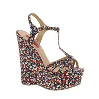 London Rebel Floral Wedges at asos.com