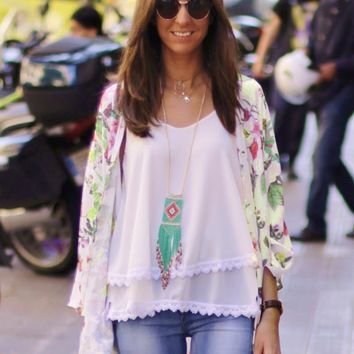 White Green Leaves Print Chiffon Cardigan