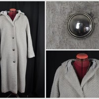 VINTAGE BESPOKE LADIES WOOL & MOHAIR WOMENS RETRO LONG HOODED COAT SILVER BUTTON