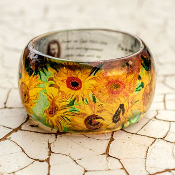 Sunflowers Vincent Van Gogh post-Impressionist Resin bracelet reproduction, art jewelry original yellow jewelry flowers, modern art painting