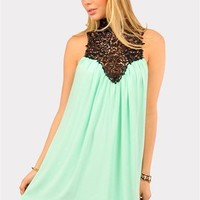 Venetian Crochet Dress - Mint