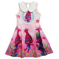 HOT Cartoon Trolls Dress Summer Birthday Party Children Dress Sleeveless Kids Girls Princess Dresses Vestido Trolls Costume