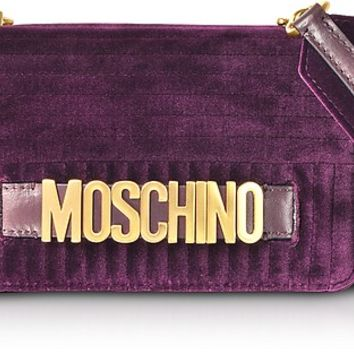 Moschino Burgundy Velvet Signature Shoulder Bag