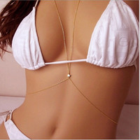 Summer style Body Jewelry Sexy Style Body Chain Belly Waist Crossover Harness Chain Necklace for women [7900621255]