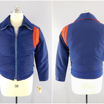 1970s - 1980s Vintage / DiTrani Designs Ski Jacket / Blue Colorblock / Waist Length / 80s Fashion / Ski Wear / Size M 38-40 / Made in Canada