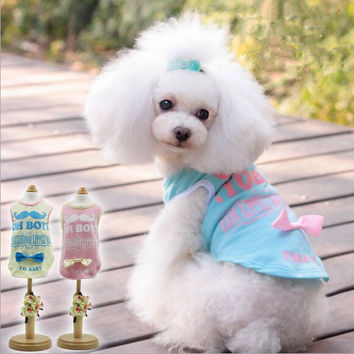 New Arrival High Quality Letter Small Dog Vest Shirt Pet T-shirt for Female Dog with Satin Ribbon BowFREE SHIPPING