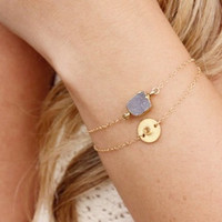 Citrine Gemstone Coin Bracelet