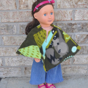 American Girl doll clothes.  18 inch doll clothes, poncho and jeans.  Ready to ship.