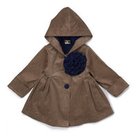 Beige & Navy Floral Hooded Jacket - Kids