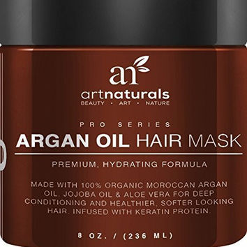 Art Naturals® Argan Oil Hair Mask, Deep Conditioner 8 Oz, 100% Organic Jojoba Oil, Aloe Vera & Keratin, Repair Dry, Damaged Or Color Treated Hair After Shampoo, Best For All Hair Types - Sulfate Free (8oz)