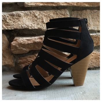 """Style and Flare"" Strappy Ankle Black Heel Shoes"