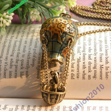 Pretty retro copper world map Hot Air Balloon with bear necklace pendant vintage style