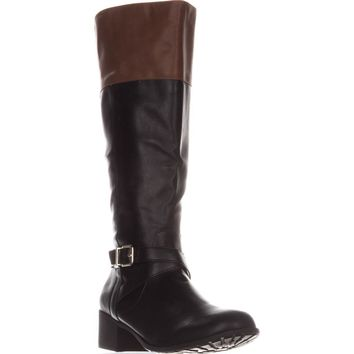 SC35 Venesa Wide Calf Riding Boots, Black/Brown, 7.5 US
