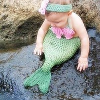 Green Mermaid Outfit Knit Baby Newborn Prop - CCC277