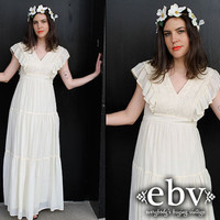 Vintage 70's Cream Embroidered Hippie Boho Maxi Wedding Dress S M