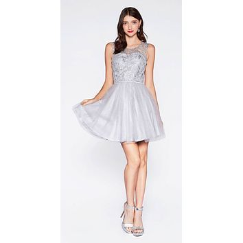 Glitter Embellished Homecoming Short Dress Silver