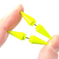 Fake Gauge Earrings: Rocker Chic Geometric Spike Faux Plug Stud Earrings in Neon Yellow