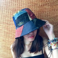 Bucket Hat Hippie Festival for Men women Patchwork recycle fabric Aztec Tribal print Cap Boho Street Style Vegan gift unique one of kind