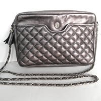 Ganson Leather Pewter Grey Quilted Purse Vintage Purses Evening Bags Metallic Grey Handbag Shoulder Straps