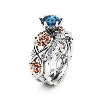 Special Reserved - 14k White & Rose Gold Blue Diamond Floral Wedding Ring Bridal Set - 5th payment