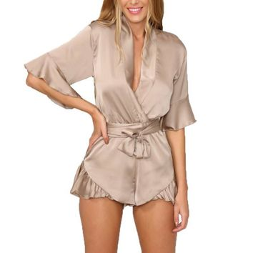 Summer  Style Satin Ruffles Elegant Jumpsuit Women Romper Deep V neck Sexy Playsuit  Women Pink Bow Short beach Overalls