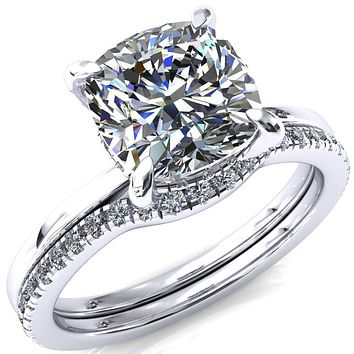 Rosy Cushion Moissanite 4 Claw Prong Single Rail 3/4 Micropave Engagement Ring