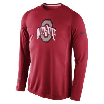 Nike Disruption Long-Sleeve (Ohio State) Men's Basketball Shooting Shirt Size Small (Red)